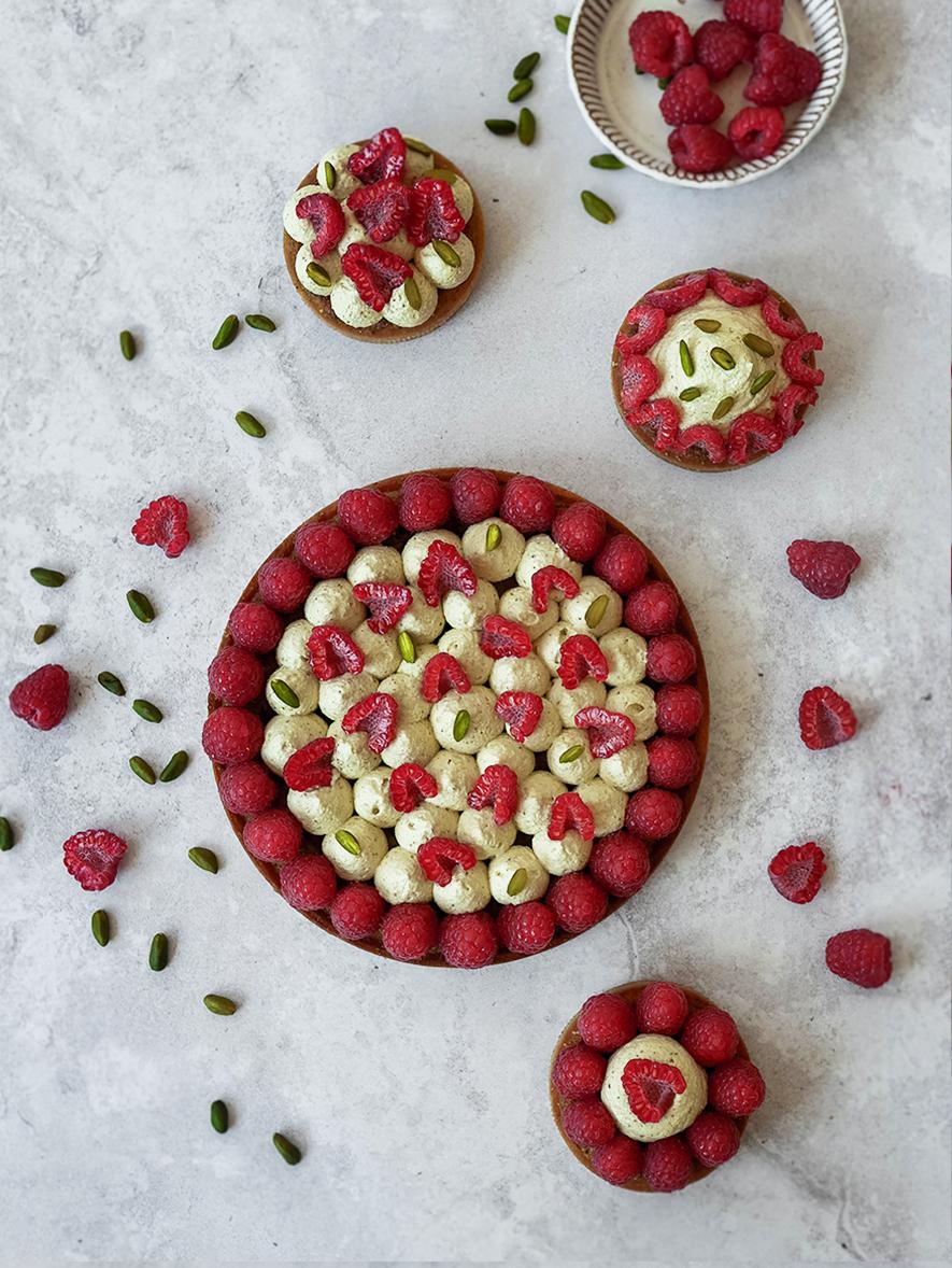 Tarte pistache-framboises